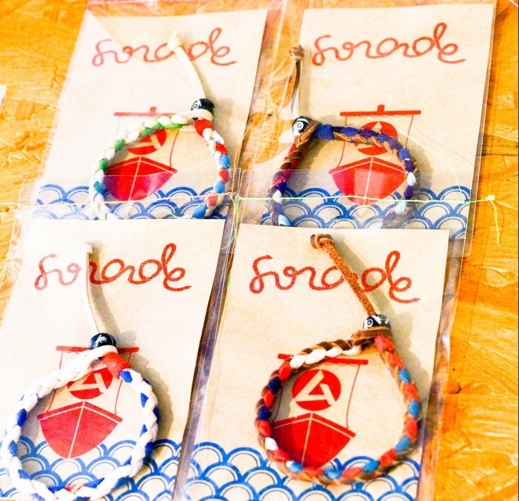宮城県石巻市発のブランド「FUNADE」の大漁旗ブレスレット